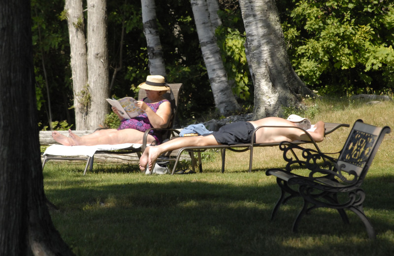 Lounging on the lawn at The Shallows Resort.