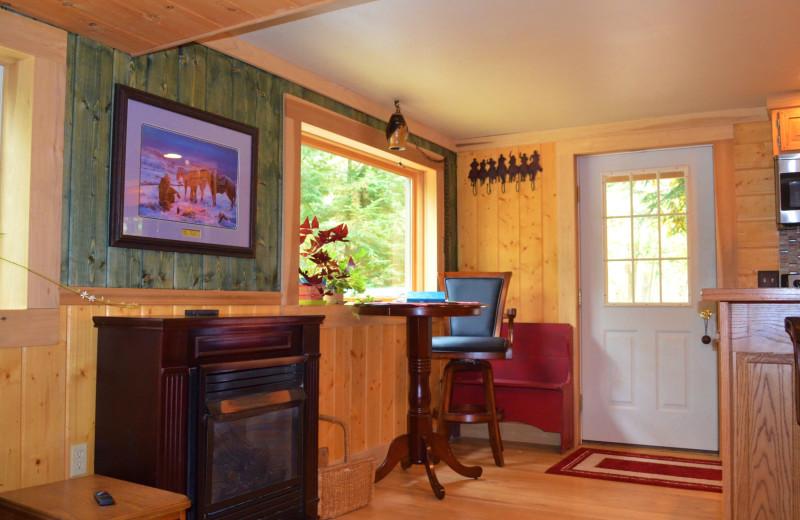 Cabin interior at Creeks Crossing Cabins.
