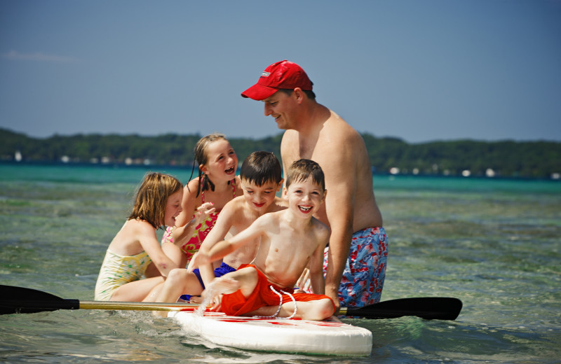 Family swimming at Chimney Corners Resort.
