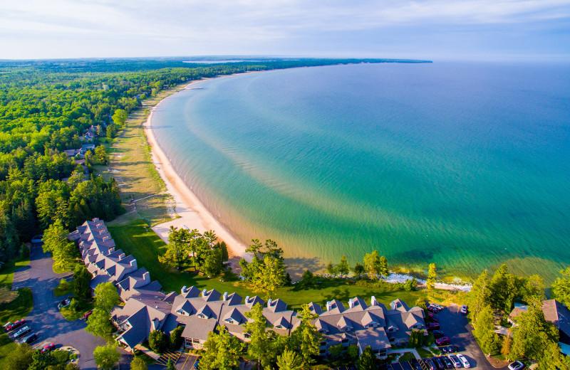 Aerial view of Glidden Lodge Beach Resort.