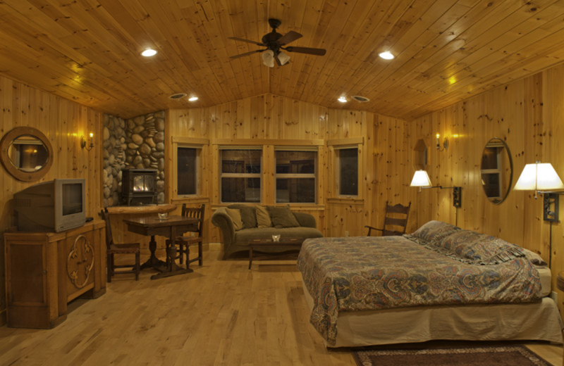 Cabin living room at Jasmer's Rainier Cabins & Fireplace Rooms.