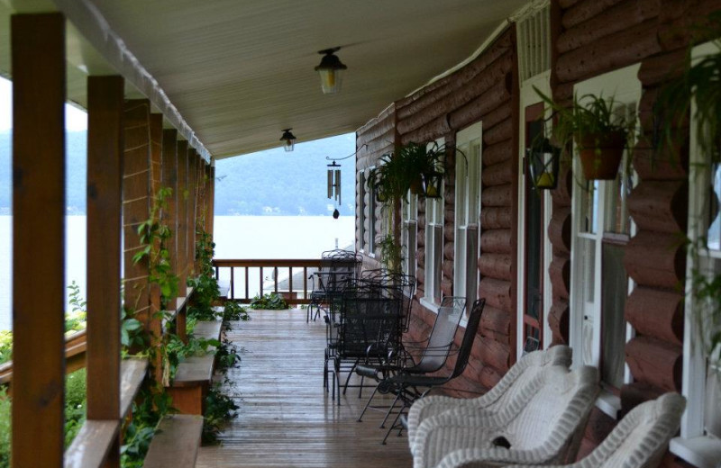 Porch at Jackson's Lodge and Log Cabins.