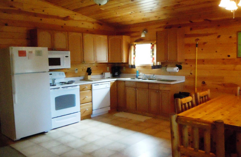 Cabin kitchen at Lakewood Lodge.
