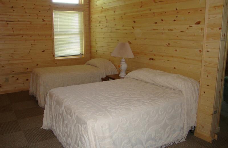 Cabin bedroom at Anchor Inn Resort.