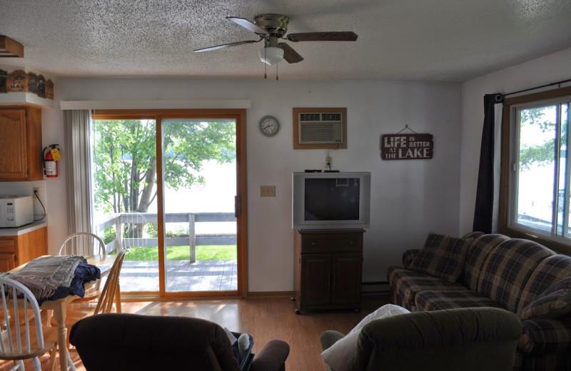 Cabin living room at Paul Bunyan Resort.