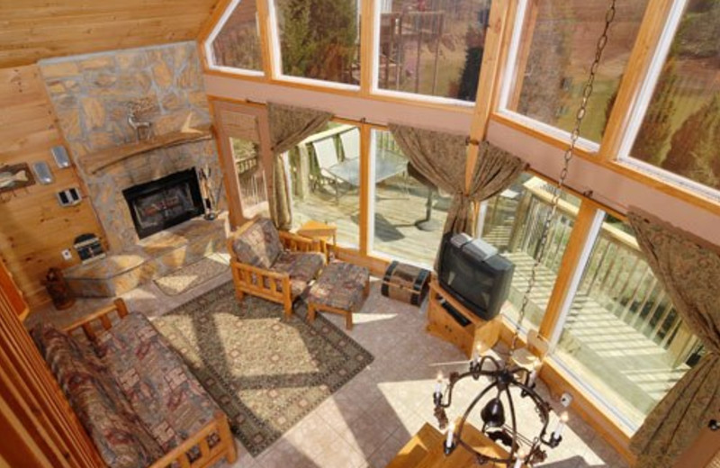 Cabin living room at Cabins For You.