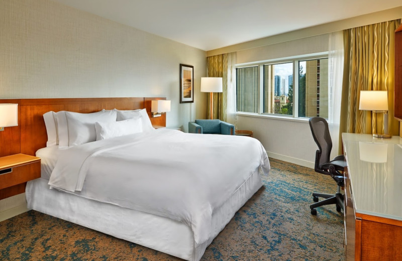 Guest room at The Westin San Diego Emerald Plaza.