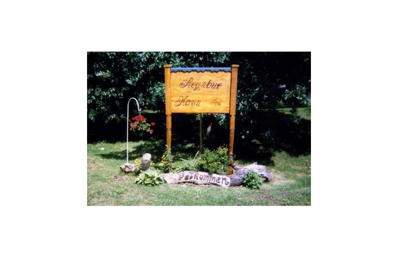 Sign at Regnbue Haven Resort.