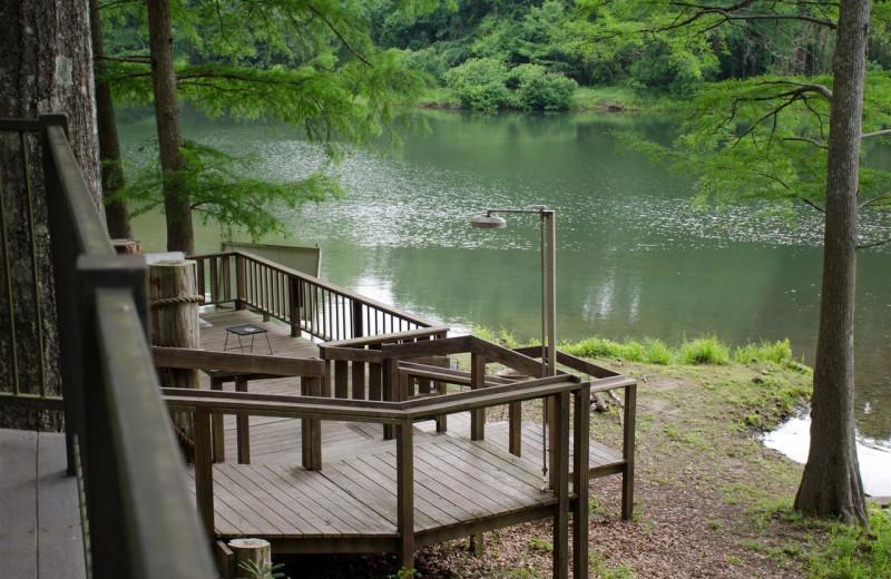 Cabin deck at Lake Mountain Cabins.
