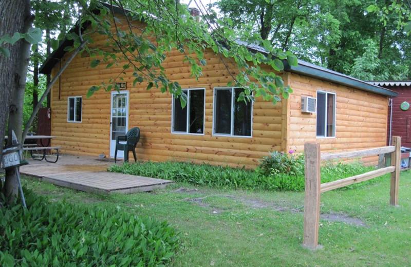 Cabin exterior at Cedar Point Resort.