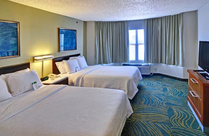 Guest room at SpringHill Suites Dallas.