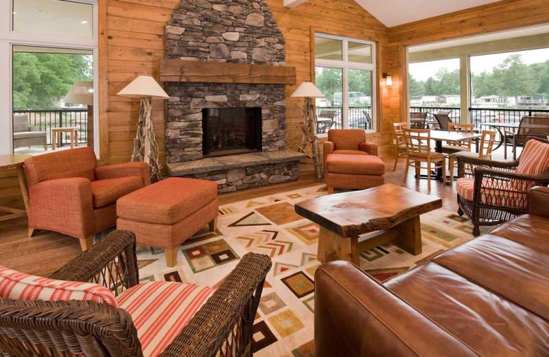 Cabin living room at Shamrock Bay Resort.