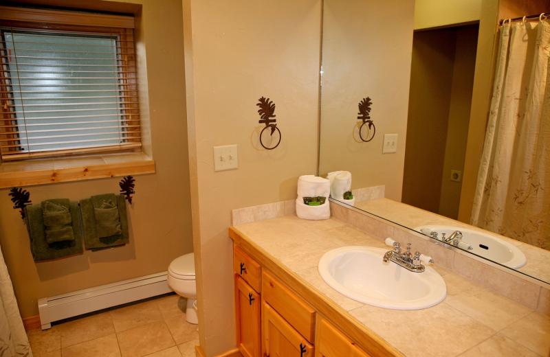 Condo bathroom at Bear Creek Vacation Condos.
