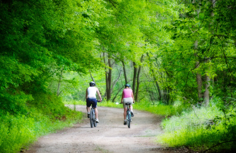 Biking at Broadwater Lodge.