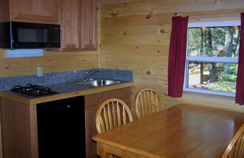 Cabin kitchen at Old Forge Camping Resort.
