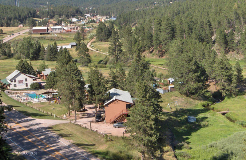 Aerial view of Black Hills Cabins & Motel at Quail's Crossing.