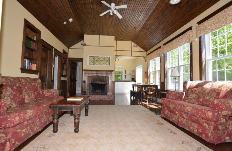 Cottage living room at Port Cunnington Lodge & Resort.
