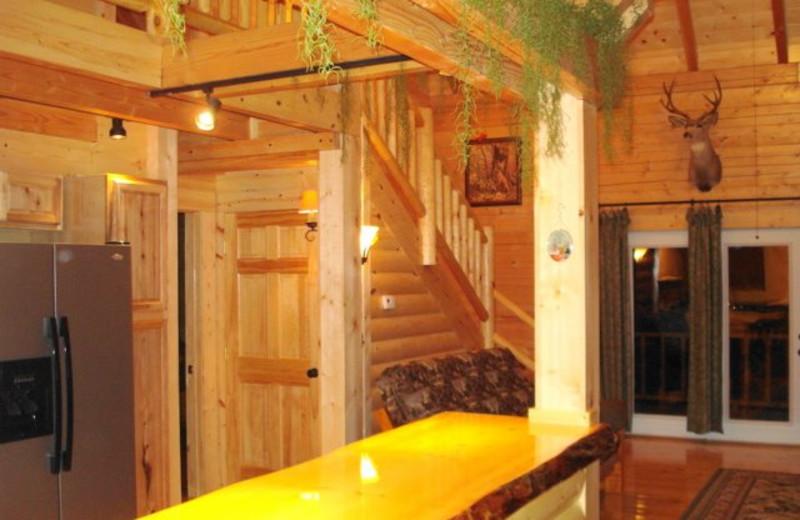 Cabin interior at Pine Ridge Log Cabins.