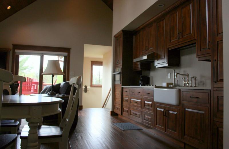 Cabin kitchen at Ruttger's Bay Lake Lodge.