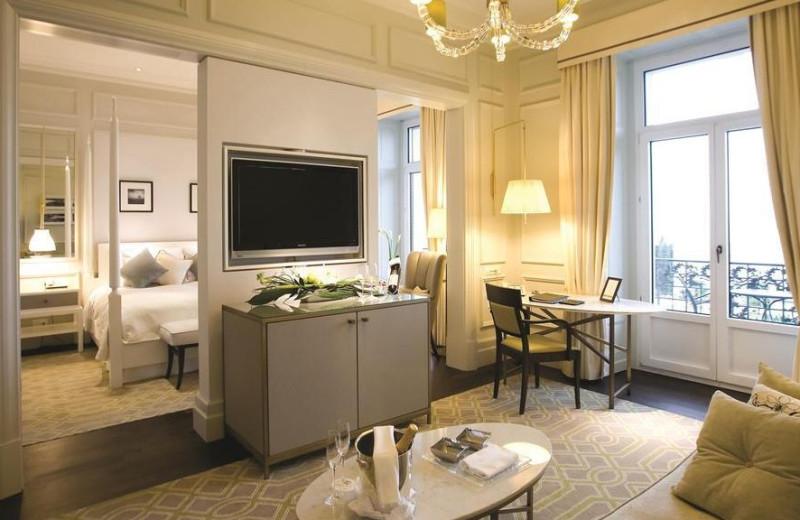 Guest room at Le Montreux Palace.