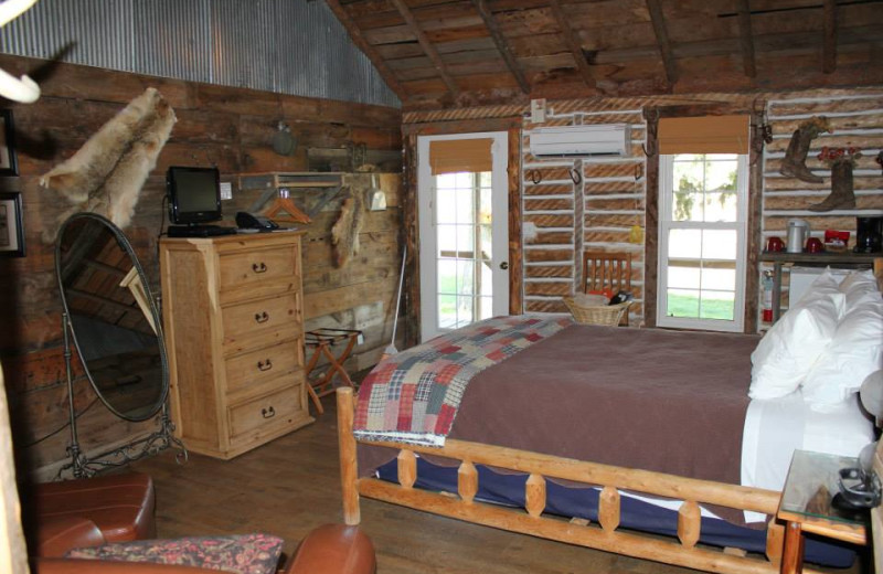 Cabin bedroom at Colorado Cattle Company Ranch.