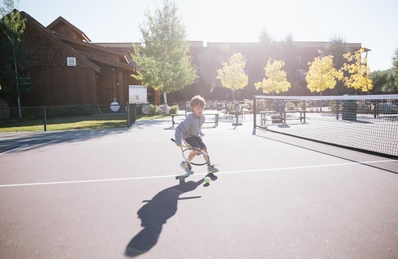 Tennis court at Teton Springs Lodge.