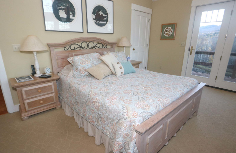 Rental bedroom at Stowe Country Homes.