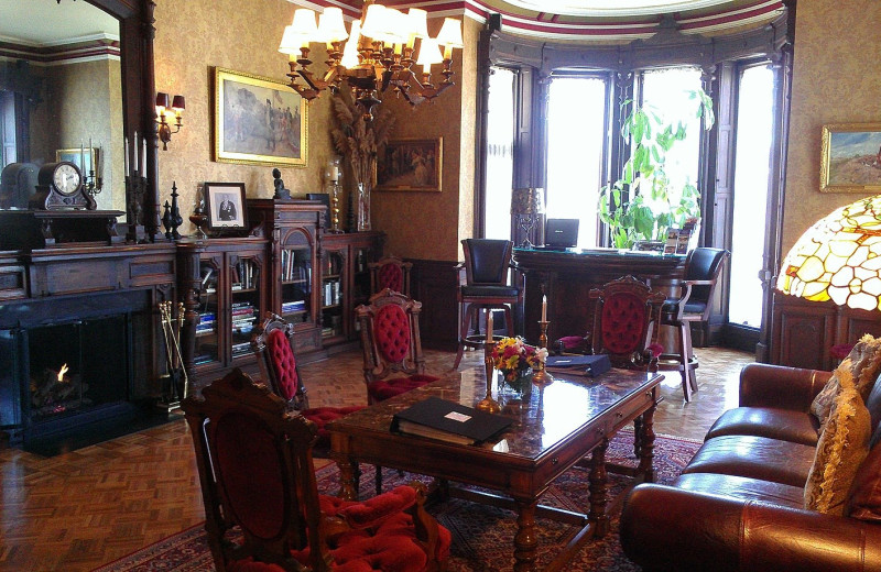 The library at Batcheller Mansion Inn Bed and Breakfast.