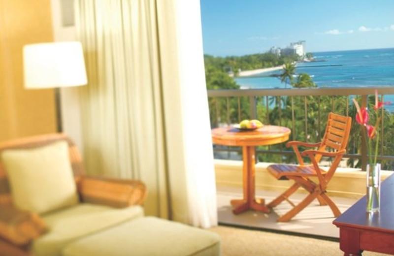 Balcony bedroom at Hyatt Regency Waikiki Resort & Spa.