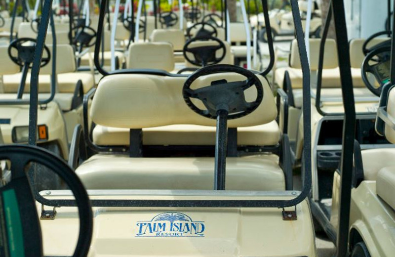 Golf carts at Palm Island Resort.