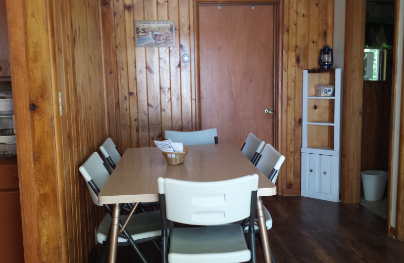Cabin dining area at SweetWater Resort.