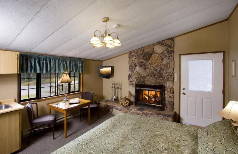 Guest room at Sunwapta Falls Resort.