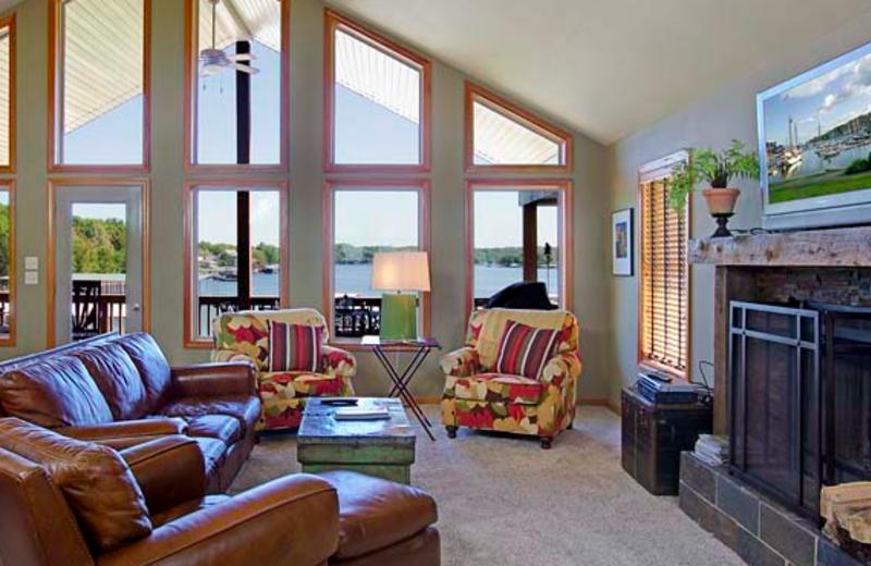 Vacation rental living room at Crystal Water Villas.