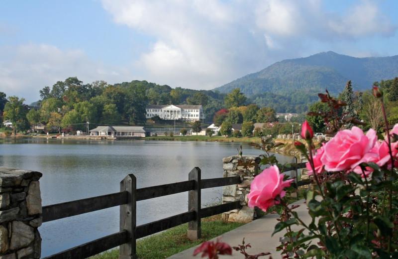Lake view and Rose Walk at Lake Junaluska Conference and Retreat Center.
