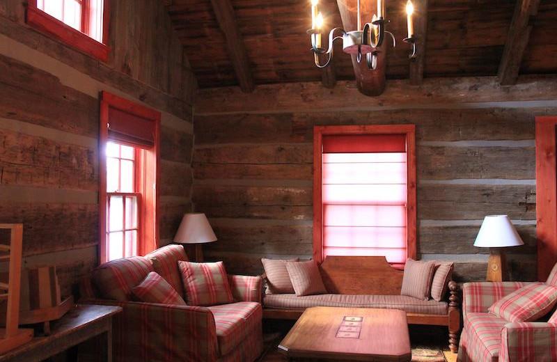 Cabin living room at Bartlett Lodge.