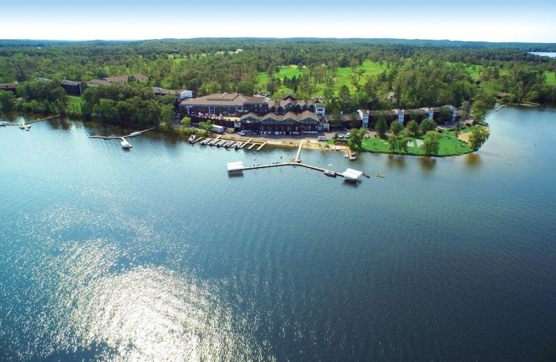 Exterior view of Cragun's Resort and Hotel on Gull Lake.