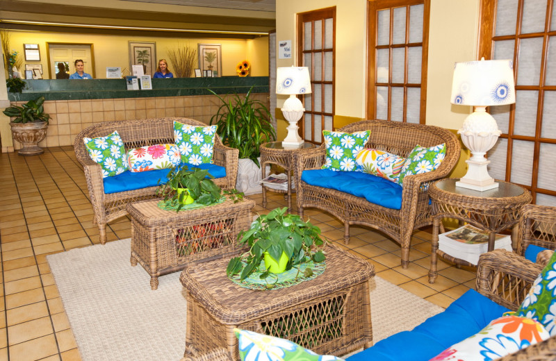 Lobby area at Holiday Isle Oceanfront Resort.
