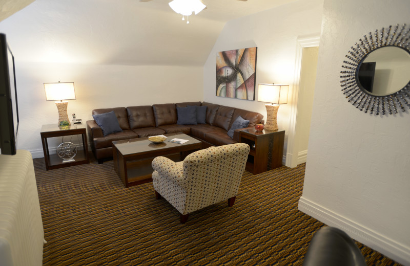 Alternate view of living room - Large One Bedroom apartment suite at Friendship Suites.