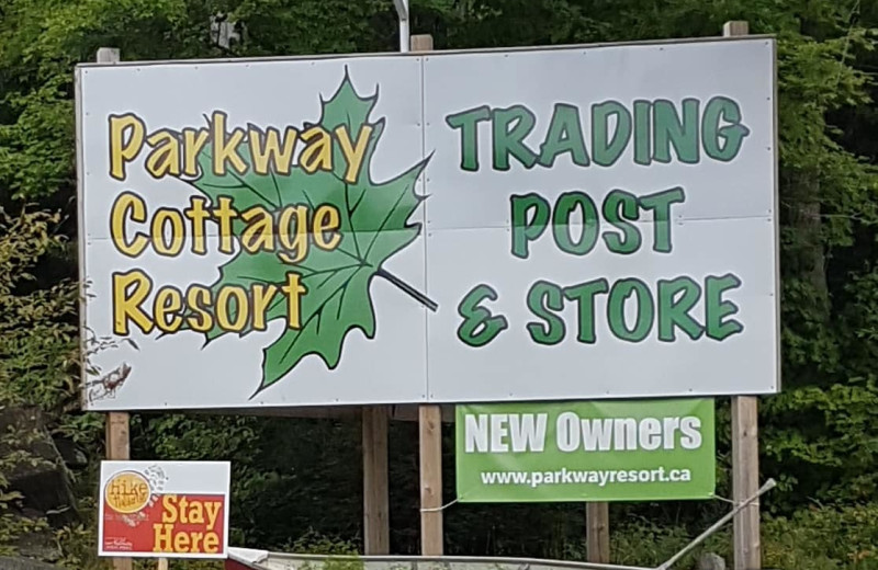 Welcome sign at Parkway Cottage Resort & Trading Post.