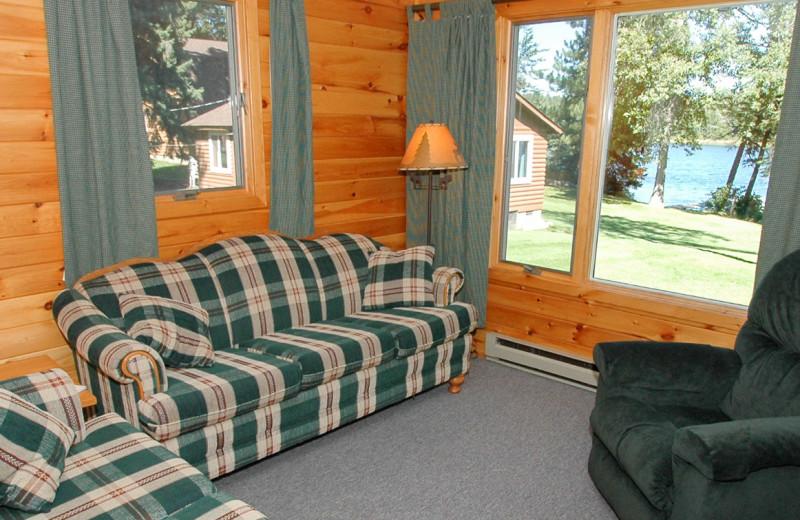 Cabin living room at Half Moon Trail Resort.