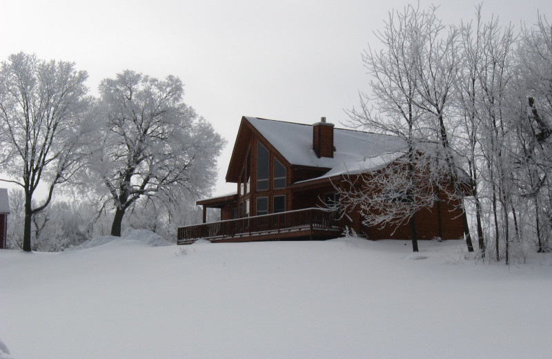 Winter exterior at Red Cedar Lodge.