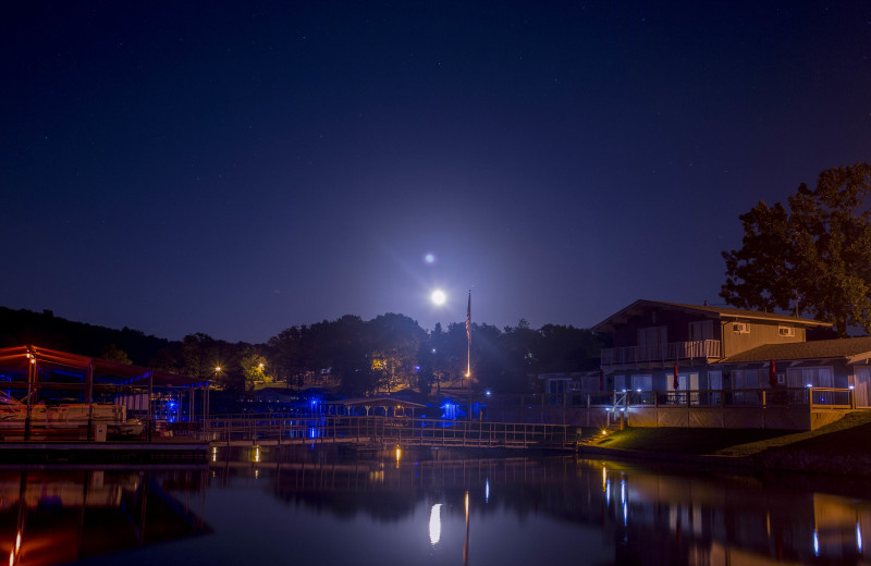 Night view of Bass Point Resort.