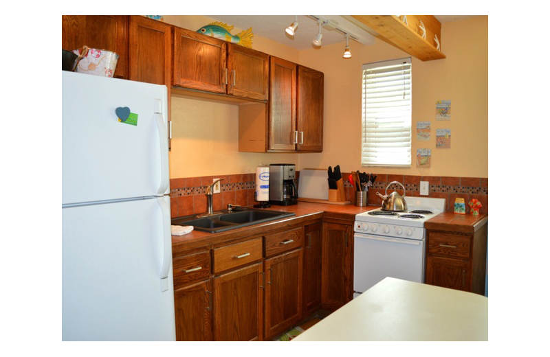 Guest kitchen at Gulf Winds Resort Condominiums.