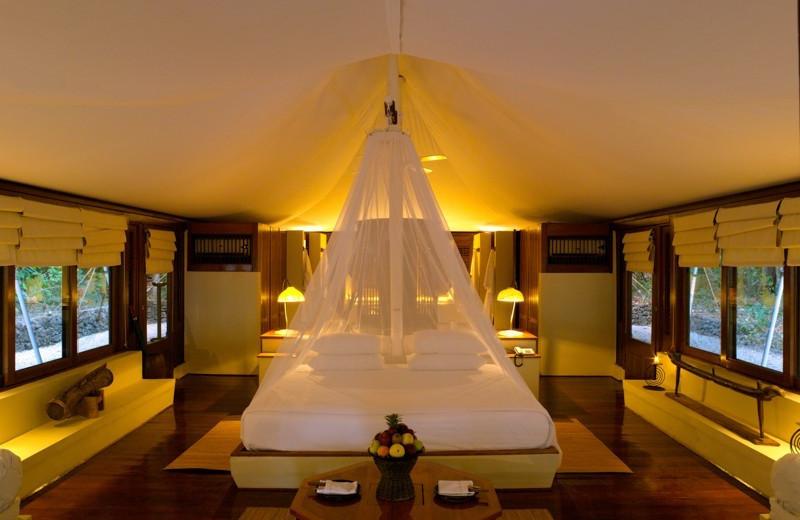Tent interior at Amanwana.