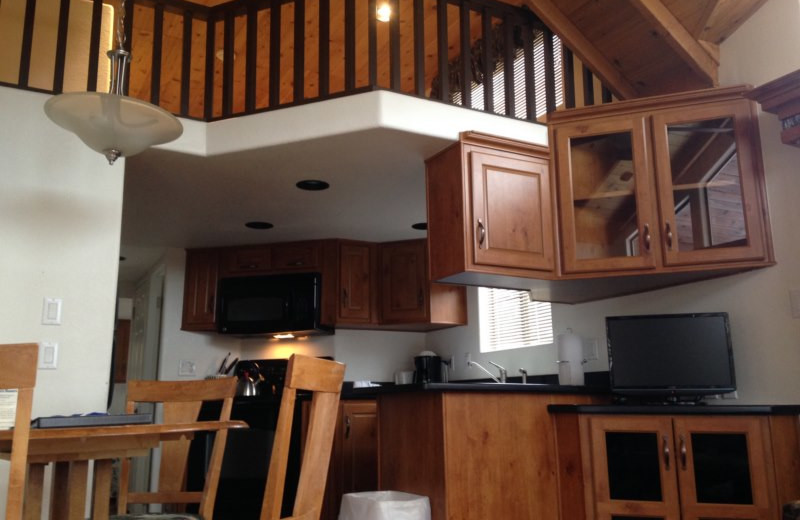 Cabin interior at Three Rivers Resort & Outfitting.