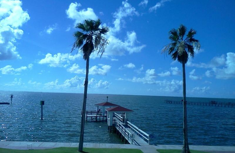 Dock at The Lighthouse Inn at Aransas Bay.