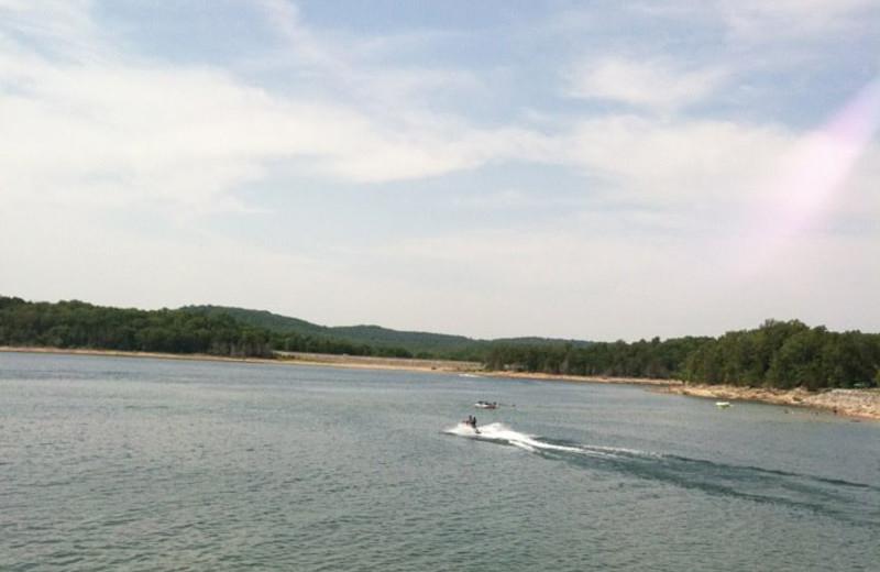 Lake view at Cabin Fever Resort.