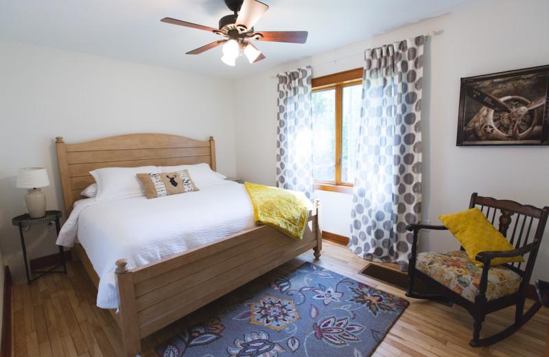 Cottage bedroom at Mission Springs Resort.