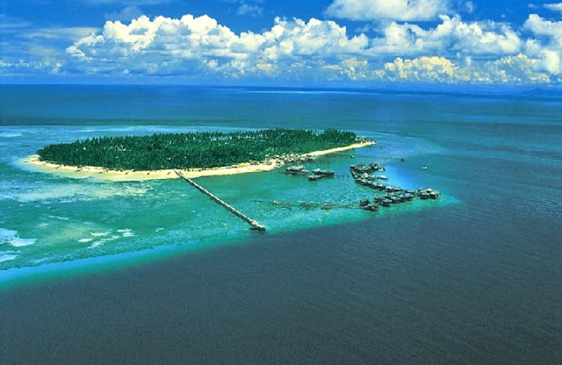 Aerial view of Sipadan Water Village Resort.