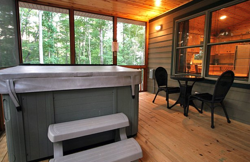 Cabin porch at Sautee Resorts.